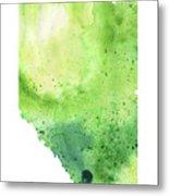 Watercolor Map Of Alberta, Canada In Green  Metal Print