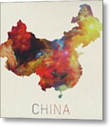 Watercolor Map Of China Metal Print