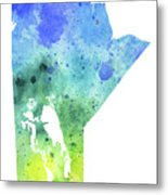 Watercolor Map Of Manitoba, Canada In Blue And Green  Metal Print