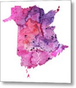 Watercolor Map Of New Brunswick, Canada In Pink And Purple  Metal Print