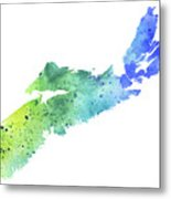 Watercolor Map Of Nova Scotia, Canada In Blue And Green  Metal Print