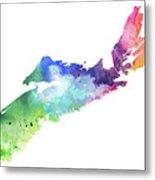 Watercolor Map Of Nova Scotia, Canada In Rainbow Colors  Metal Print