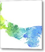 Watercolor Map Of Prince Edward Island, Canada In Blue And Green  Metal Print