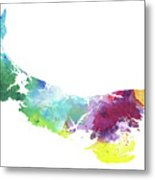 Watercolor Map Of Prince Edward Island, Canada In Rainbow Colors  Metal Print