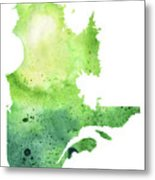Watercolor Map Of Quebec, Canada In Green  Metal Print