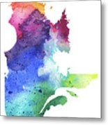 Watercolor Map Of Quebec, Canada In Rainbow Colors  Metal Print
