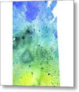 Watercolor Map Of Saskatchewan, Canada In Blue And Green  Metal Print