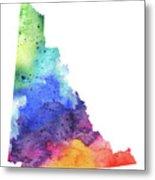 Watercolor Map Of Yukon, Canada In Rainbow Colors  Metal Print