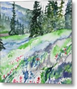 Watercolor - Mountain Pines And Indian Paintbrush Metal Print