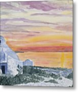 Watercolor - Mykonos Sunset Metal Print