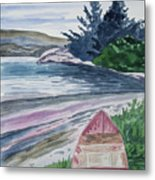 Watercolor - New Zealand Harbor Metal Print