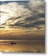 Watercolor Paddle - Kayaking Through A Glorious Silken Morning Metal Print