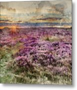 Watercolor Painting Of Beautiful Dawn Sunrise Landscape Image Of Heather On Higger Tor In Summer In  Metal Print