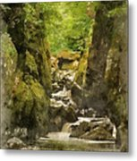 Watercolor Painting Of Beautiful Ethereal Landscape Of Deep Sided Gorge With Rock Walls And Stream F Metal Print