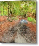 Watercolor Painting Of Beautiful Landscape Image Of Forest Covered In Autumn Fall Color Contrasting  Metal Print