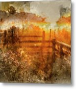 Watercolor Painting Of Beautiful Sunrise Landscape Over Foggy English Countryside With Glowing Sun Metal Print