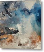 Watercolor Painting Of Flight Formation Of Battle Of Britain World War Two Consisting Of Lancaster B Metal Print