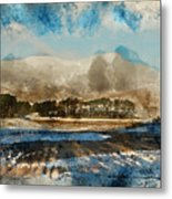 Watercolor Painting Of Fresh Winter Landscape Of Mountain Range And Forest Covered In Snow Metal Print