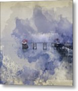 Watercolor Painting Of Landscape Of Victorian Pier With Moody Sk Metal Print