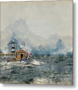 Watercolor Painting Of Pleasure Cruise Boat On Menai Straits In Anglesey Wales. Metal Print