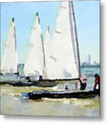 Watercolor Painting Of Small Dinghy Boats Metal Print