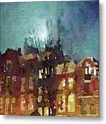 Watercolor Painting Of Spooky Houses At Night Metal Print