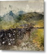 Watercolor Painting Of Stunning Landscape Of Chrome Hill And Parkhouse Hill Dragon's Back In Peak Di Metal Print