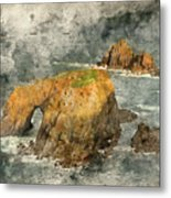 Watercolor Painting Of Stunning Sunrise Landscape Of Land's End In Cornwall England Metal Print