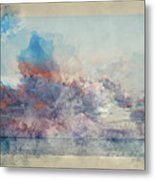 Watercolor Painting Of Stunning Sunset Cloud Formation Over Calm Sea Landscape Metal Print