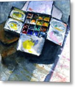 Watercolor Pallet Metal Print