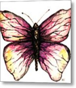 Watercolor Pink Butterfly Metal Print