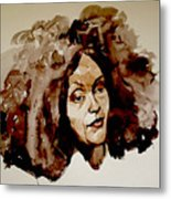 Watercolor Portrait Of A Woman With Bad Hair Day Metal Print