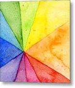Watercolor Rainbow Beachball Pattern Metal Print