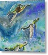 Watercolor - Sea Turtles Swimming Metal Print