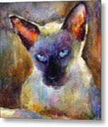 Watercolor Siamese Cat Painting Metal Print by Svetlana Novikova