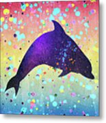Watercolor Silhouette - Dolphin  Porpoise Metal Print