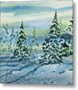 Watercolor - Snowy Winter Evening Metal Print