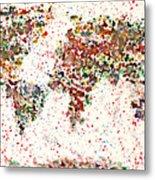 Watercolor Splashes World Map 2 Metal Print