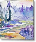 Watercolor - Stream And Forest Metal Print