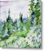 Watercolor - Summer In The Rockies Metal Print