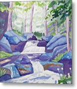 Watercolor - Summer Mountain Forest And Stream Metal Print
