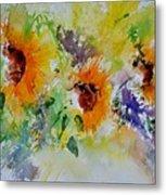 Watercolor Sunflowers Metal Print