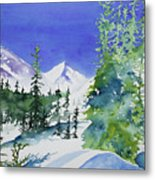 Watercolor - Sunny Winter Day In The Mountains Metal Print
