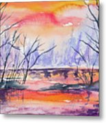 Watercolor - Sunrise At The Pond Metal Print