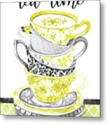 Watercolor Teacups-c Metal Print