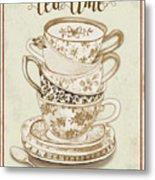Watercolor Teacups-e Metal Print