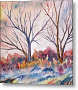 Watercolor - Trees And Woodland Meadow Metal Print