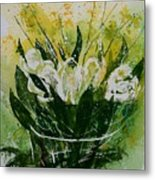 Watercolor Tulips Metal Print