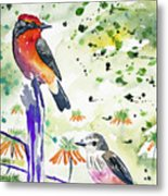 Watercolor - Vermilion Flycatcher Pair In Quito Metal Print