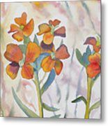 Watercolor - Wallflower Wildflowers Metal Print